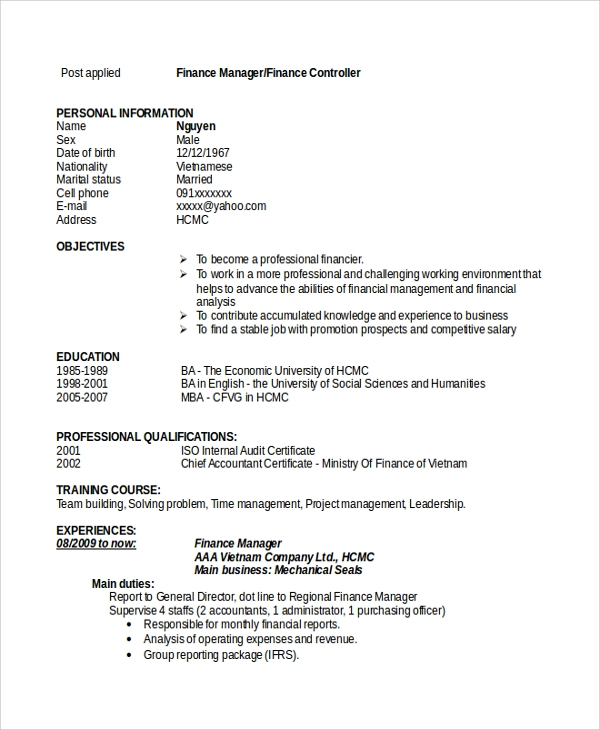 free sample finance resume templates in pdf ms word financial management objective Resume Financial Management Resume Objective