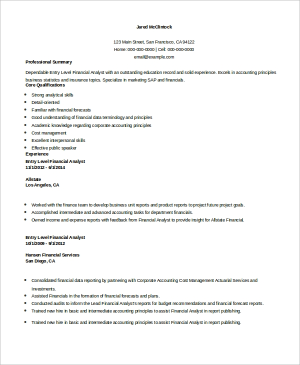 free sample financial analyst resume templates in ms word pdf summary examples for Resume Resume Summary Examples For Finance