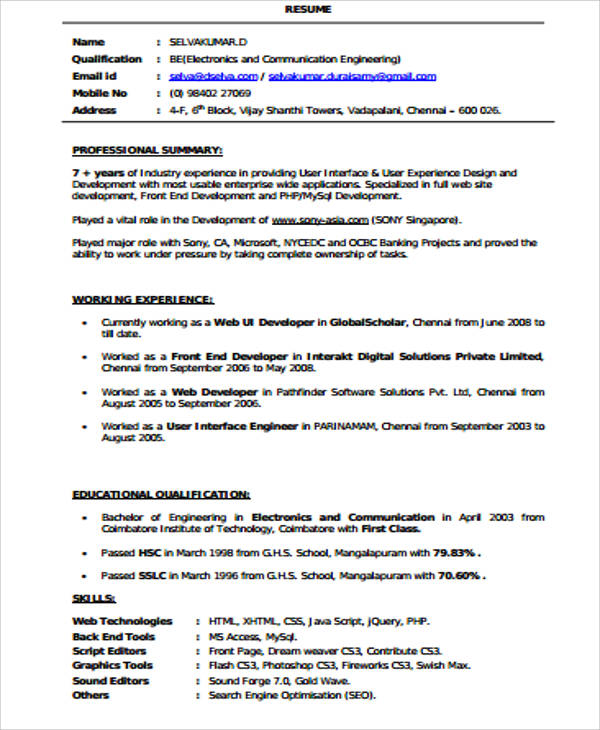 free sample front end developer resume templates in ms word pdf ui example web for Resume Ui Developer Resume Example