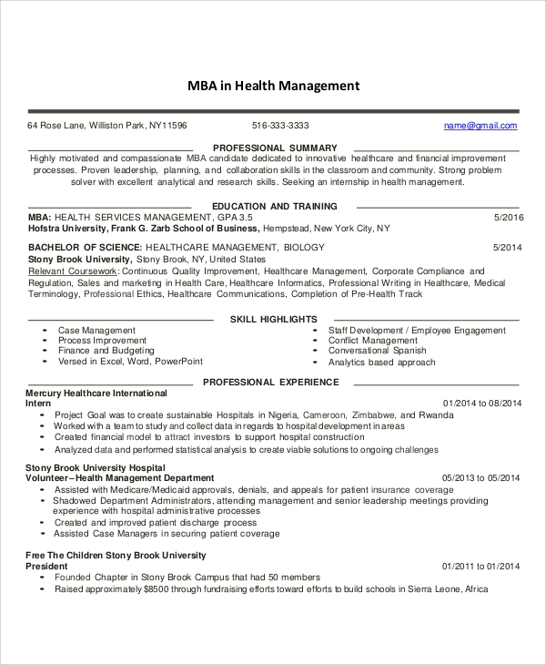 free sample healthcare resume templates in ms word pdf management example of for Resume Healthcare Management Resume