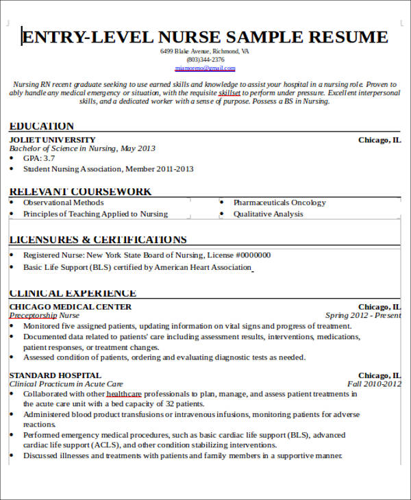 free sample new nurse resume templates in ms word pdf entry level no experience Resume Entry Level Nurse Resume Sample
