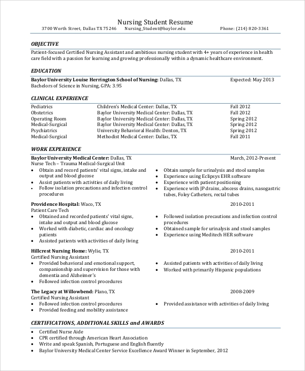 free sample nursing resume templates in pdf ms word for aide without experience student Resume Sample Resume For Nursing Aide Without Experience