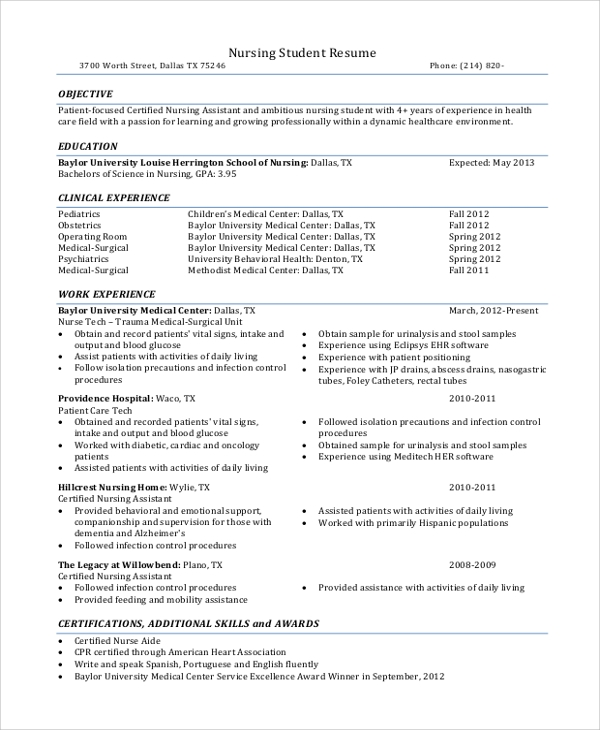 free sample nursing student resume templates in ms word pdf with clinical experience Resume Resume With Clinical Experience