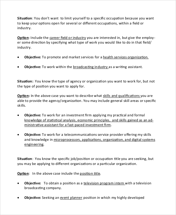 free sample objective statement for resume templates in pdf general entry level anu Resume General Entry Level Resume Objective