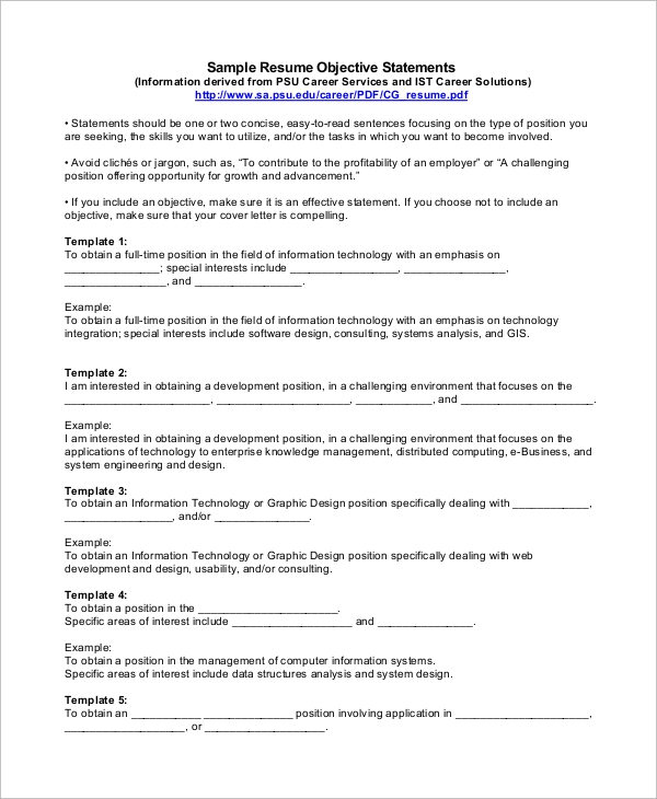 free sample objective statement for resume templates in pdf information technology Resume Information Technology Objectives And Goals Resume
