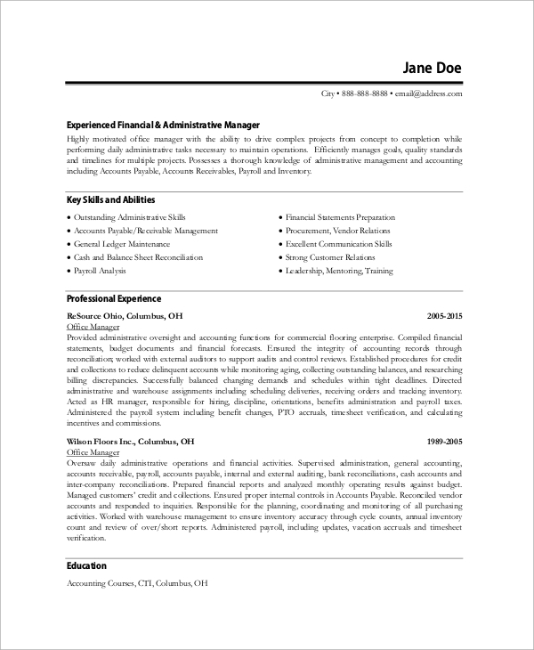 free sample office manager resume templates in ms word pdf business experienced seek tips Resume Business Office Manager Resume Sample