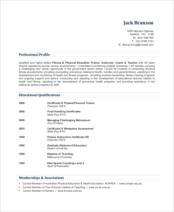 free sample personal trainer resume templates in ms word pdf for gym job certified spring Resume Resume For Gym Trainer Job