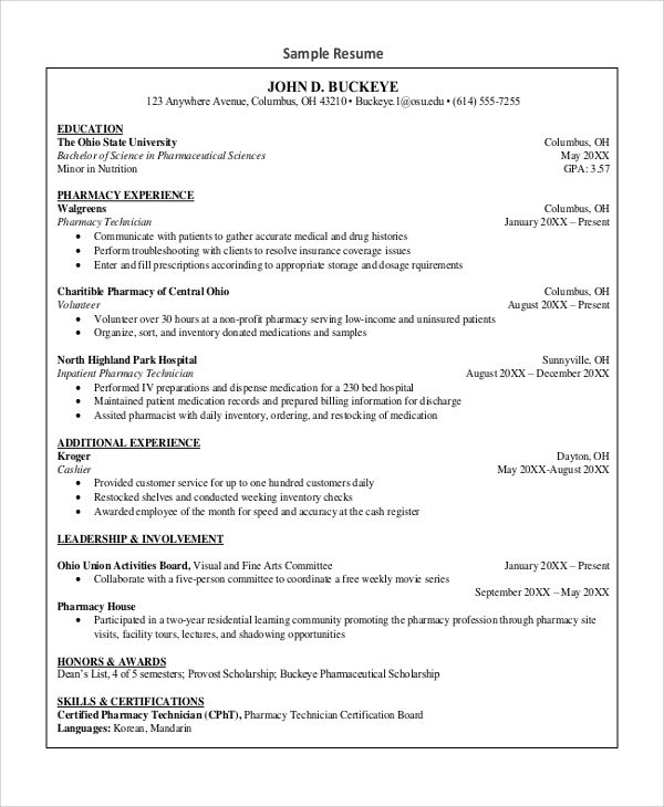 free sample pharmacy technician resume templates in ms word pdf template experienced Resume Pharmacy Technician Resume Template Free