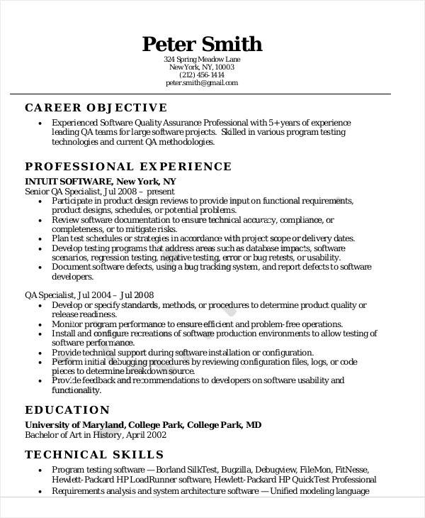free sample quality assurance resume templates in ms word pdf engineer software Resume Quality Engineer Resume Download