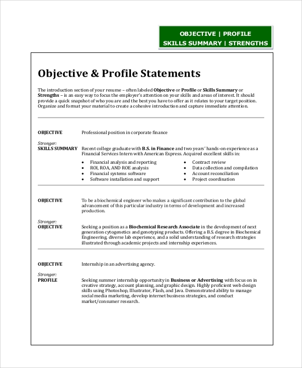 free sample resume objective statement templates in pdf engineer examples engineering Resume Engineer Resume Objective Examples