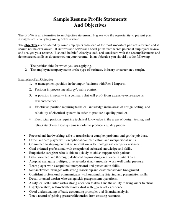 free sample resume objective templates in pdf ms word opening statement professional Resume Resume Opening Statement