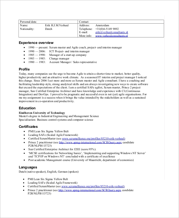 free sample scrum master resume templates in pdf for certified action oriented typing and Resume Resume Sample For Scrum Master