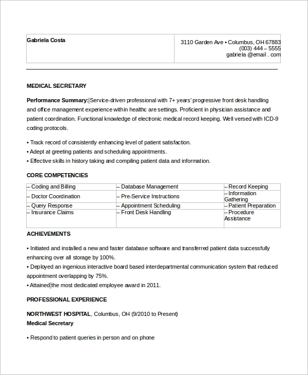 free sample secretary resume templates in ms word pdf medical objective disaster Resume Medical Secretary Resume Objective