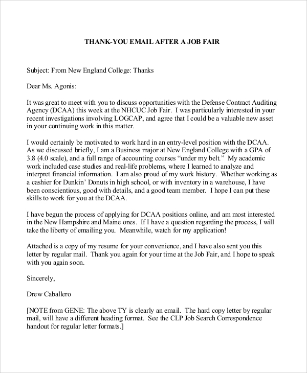 free sample thank you letter formats in ms word pdf for sending resume email format ccu Resume Thank You Letter For Sending Resume
