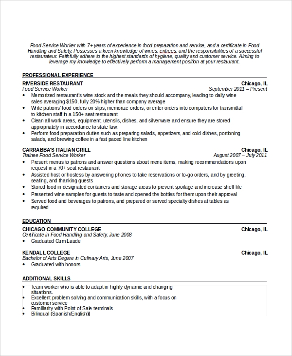 free sample waiter resume templates in pdf ms word format for service steward formal Resume Resume Format For F&b Service Steward