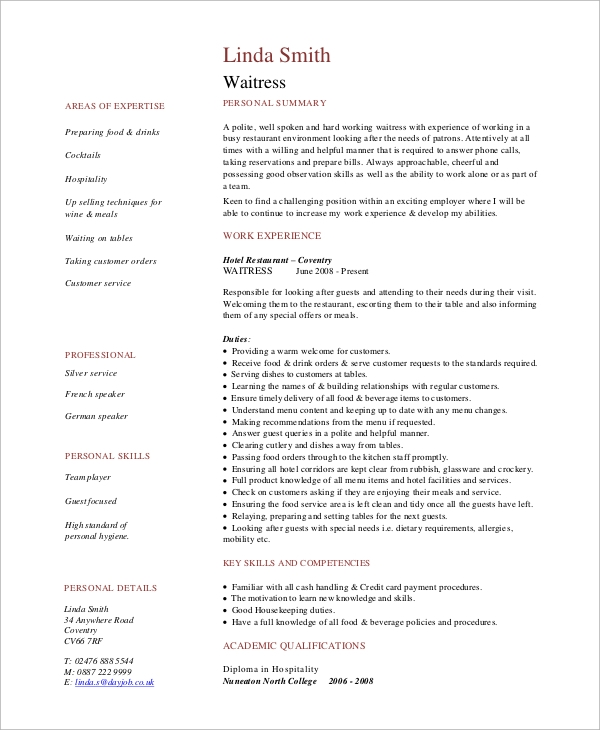 free sample waitress resume templates in pdf ms word skills for on duties shipping and Resume Skills For Waitress On Resume