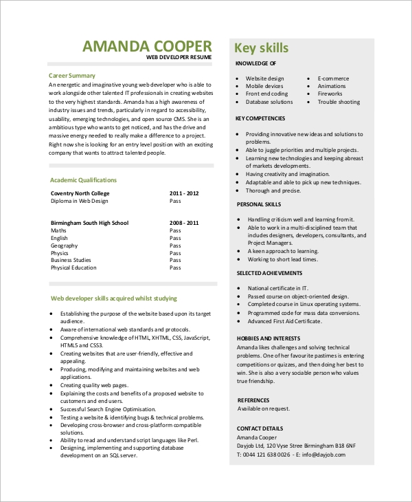 free sample web developer resume templates in ms word pdf entry level the movie career Resume Web Developer Resume Entry Level