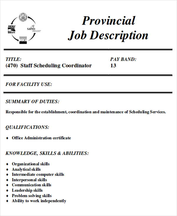 free scheduling coordinator job description samples in ms word pdf resume for executive Resume Resume For Scheduling Coordinator