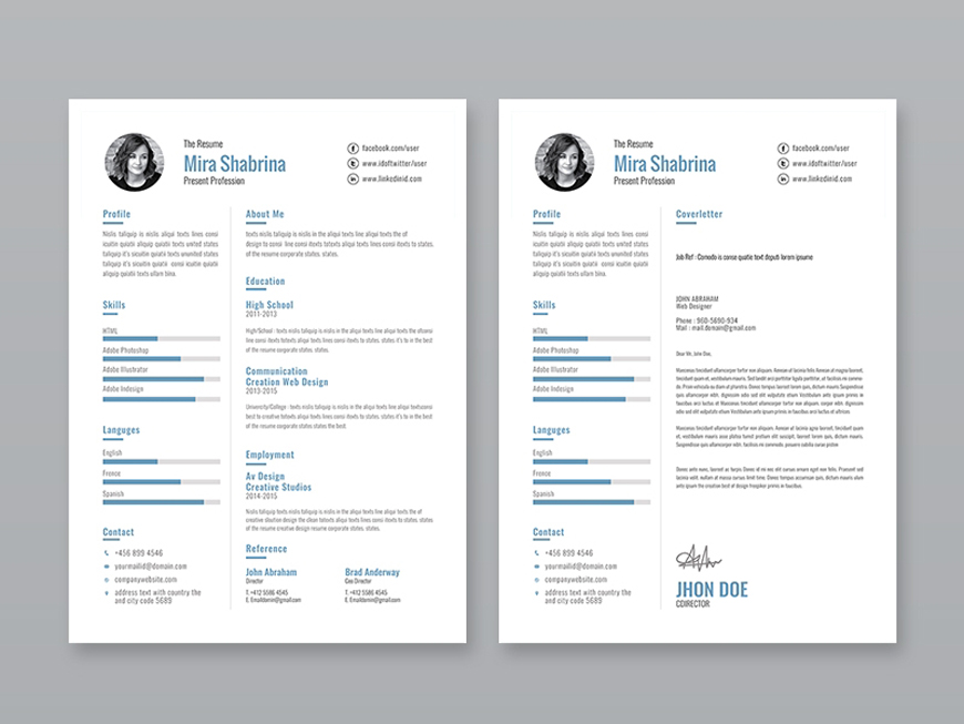 free simple illustrator resume template with cover letter and portfolio on adobe delivery Resume Resume On Adobe Illustrator