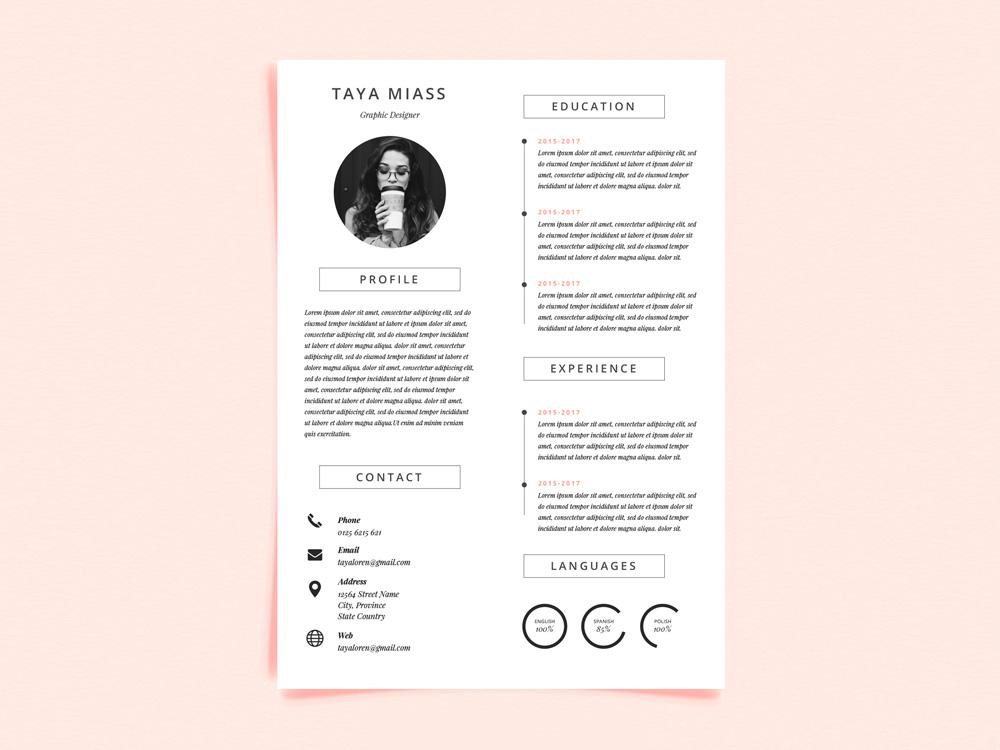 free super minimal photo resume cv template in illustrator format creativebooster with Resume Free Resume Illustrator Template