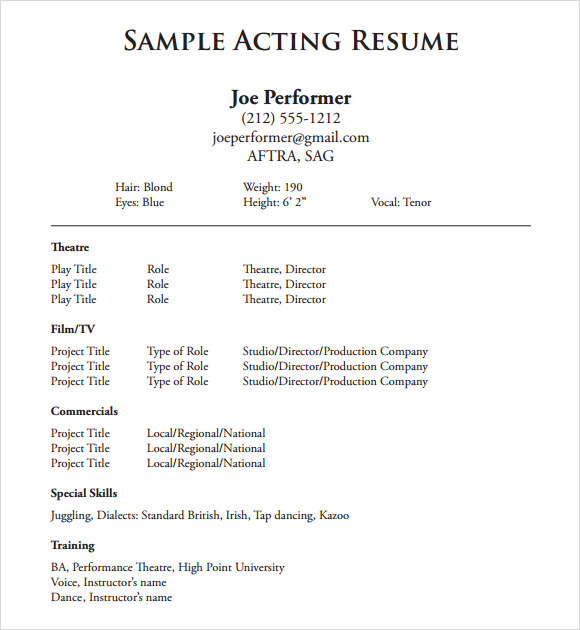 free useful sample acting resume templates in pdf ms word publisher template another for Resume Acting Resume Template 2020