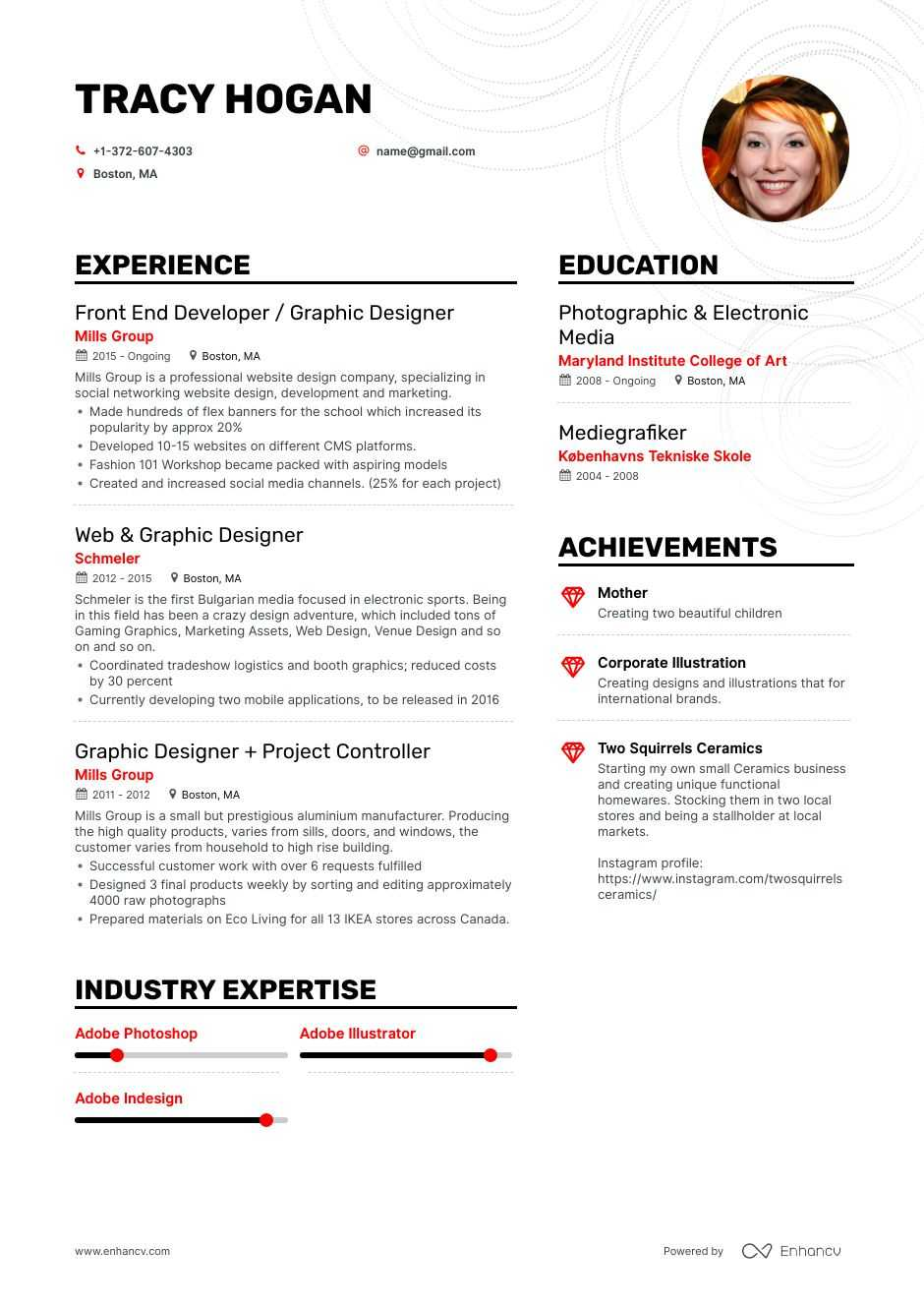 freelance graphic designer resume examples pro tips featured enhancv work experience pink Resume Freelance Work Experience Resume