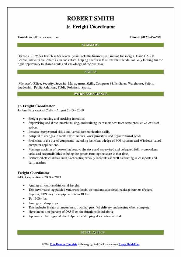 freight coordinator resume samples qwikresume pdf mail content lineman letter for Resume Freight Coordinator Resume