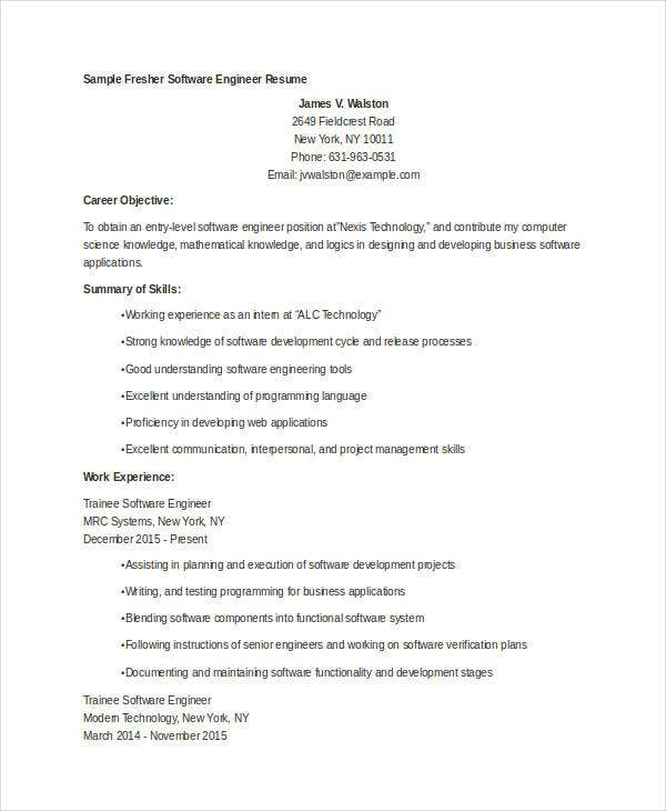 fresher engineer resume templates pdf free premium sample for fresh graduate software Resume Sample Resume For Fresh Graduate Software Engineer