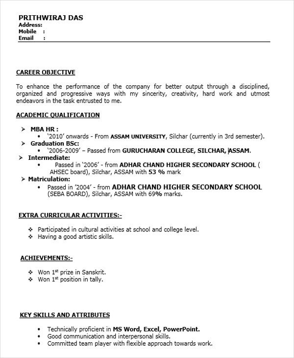 fresher resume templates pdf free premium activities for freshers mba hr download1 entry Resume Activities For Resume For Freshers