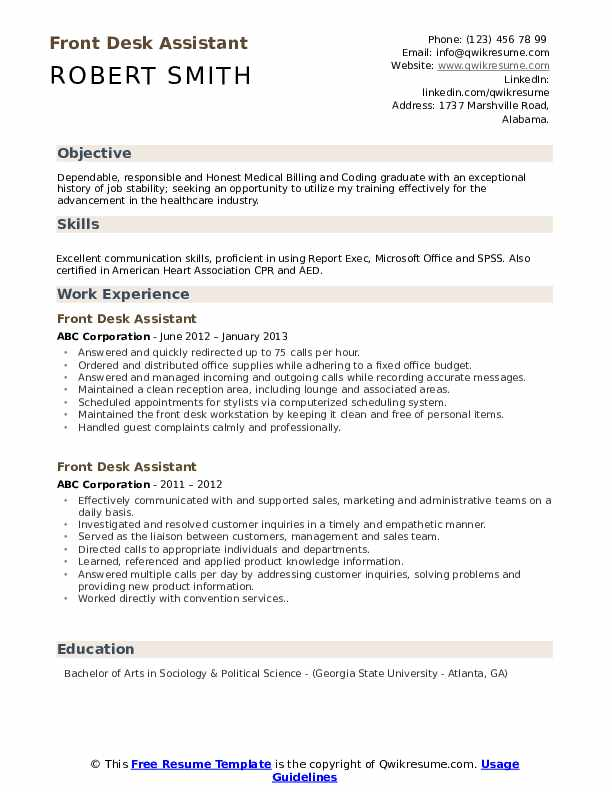 front desk assistant resume samples qwikresume job duties pdf receptionist objective Resume Front Desk Job Duties Resume