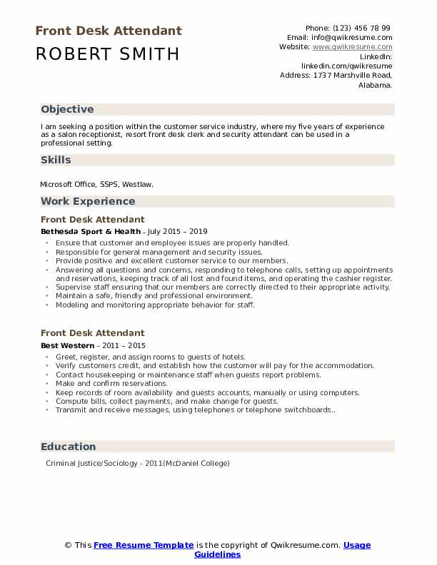 front desk attendant resume samples qwikresume job duties pdf present tense photoshop Resume Front Desk Job Duties Resume