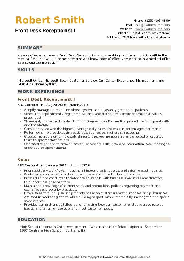 front desk receptionist resume samples qwikresume job duties pdf for high school graduate Resume Front Desk Job Duties Resume