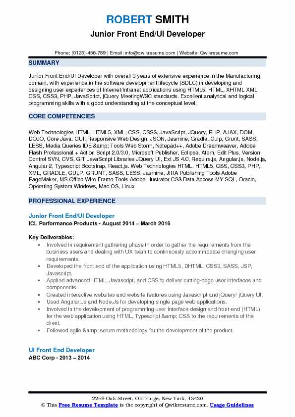 front end ui developer resume samples qwikresume example pdf cable technician sample msu Resume Ui Developer Resume Example