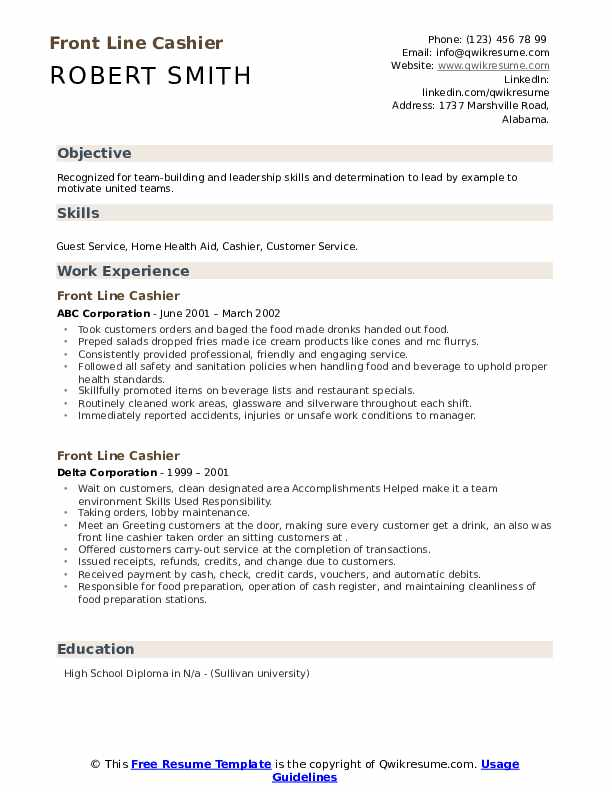 front line cashier resume samples qwikresume title on pdf can you export your from indeed Resume Cashier Title On Resume