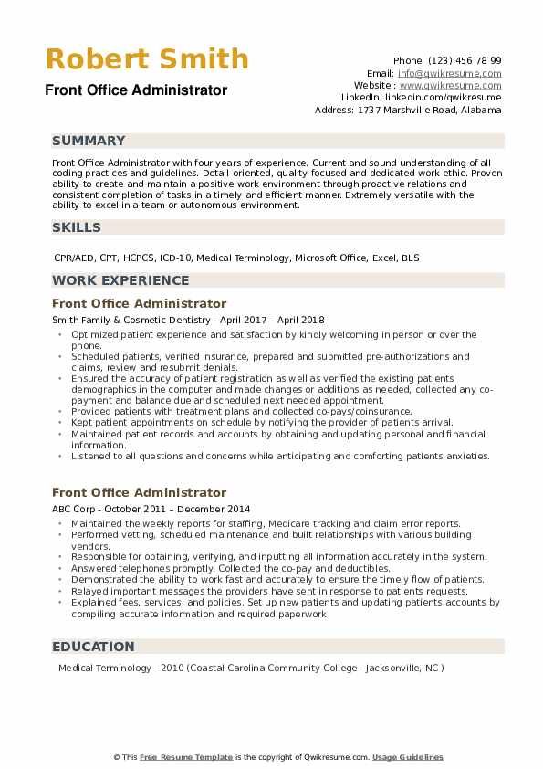 front office administrator resume samples qwikresume administrative summary examples pdf Resume Administrative Resume Summary Examples