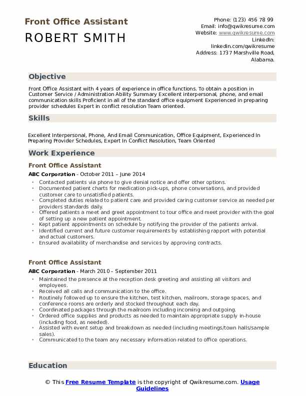 front office assistant resume samples qwikresume summary pdf cfo examples self evaluation Resume Office Assistant Resume Summary