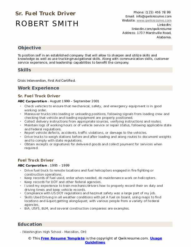 fuel truck driver resume samples qwikresume driving objective examples pdf professional Resume Truck Driving Resume Objective Examples