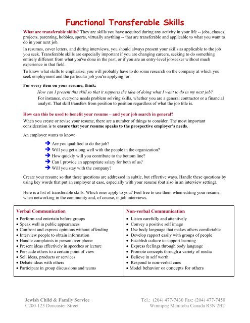 functional transferable skills jewish child family service resume checklist of amp build Resume Resume Checklist Of Transferable Skills