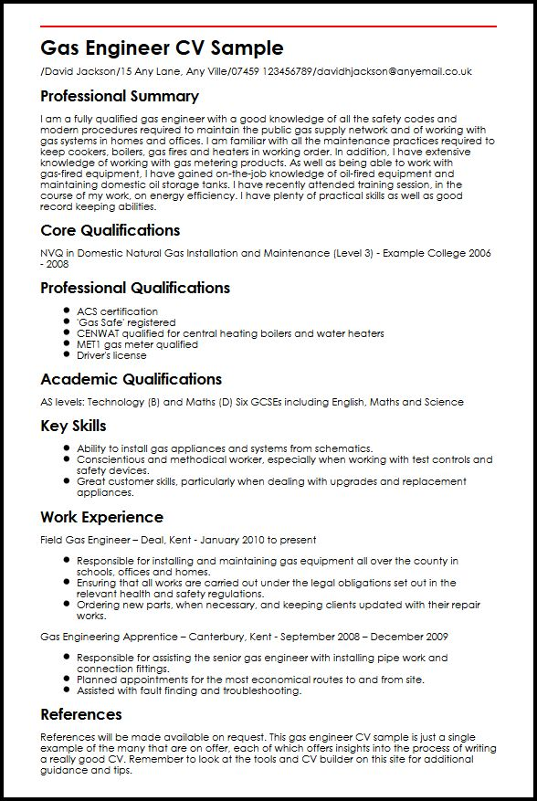 gas engineer cv example myperfectcv free oil and resume templates sample fashion examples Resume Free Oil And Gas Resume Templates