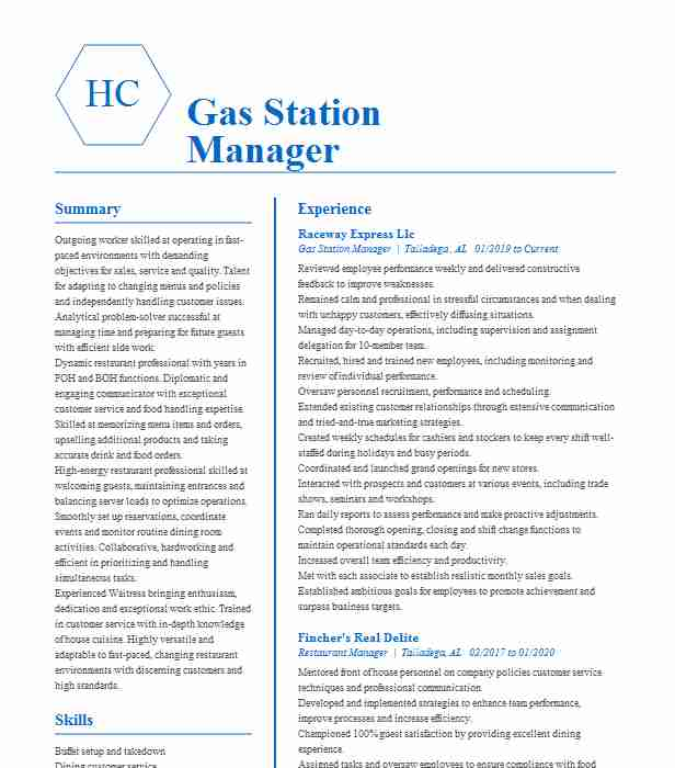 gas station manager resume example danny lachmandas springfield service best style Resume Service Station Manager Resume