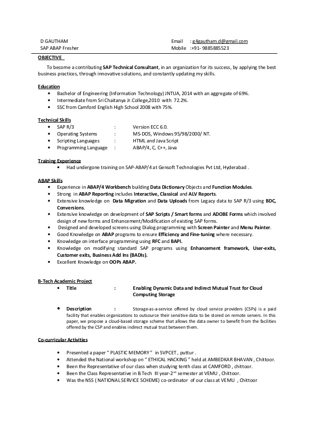 gautham sap abap fresher resume activities for freshers building superintendent mccombs Resume Activities For Resume For Freshers