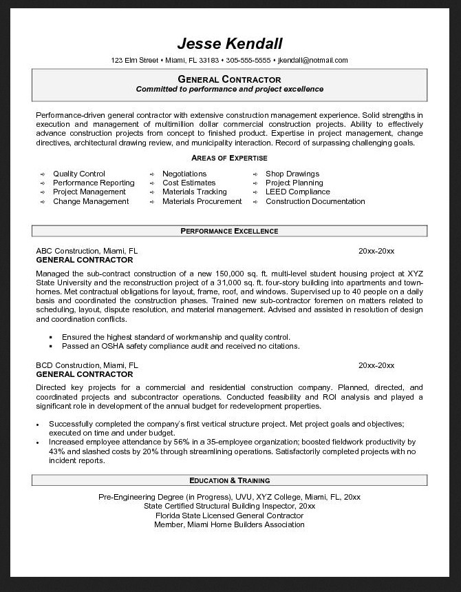 general contractor resume objective examples danetteforda quality assurance manager Resume General Contractor Resume Objective Examples