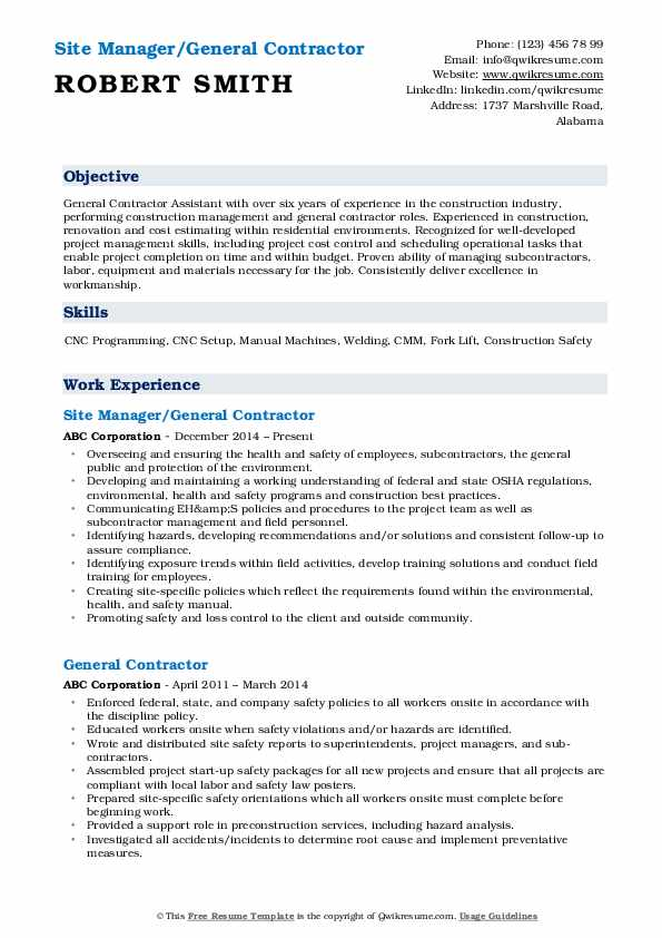 general contractor resume samples qwikresume objective examples pdf como hacer para Resume General Contractor Resume Objective Examples