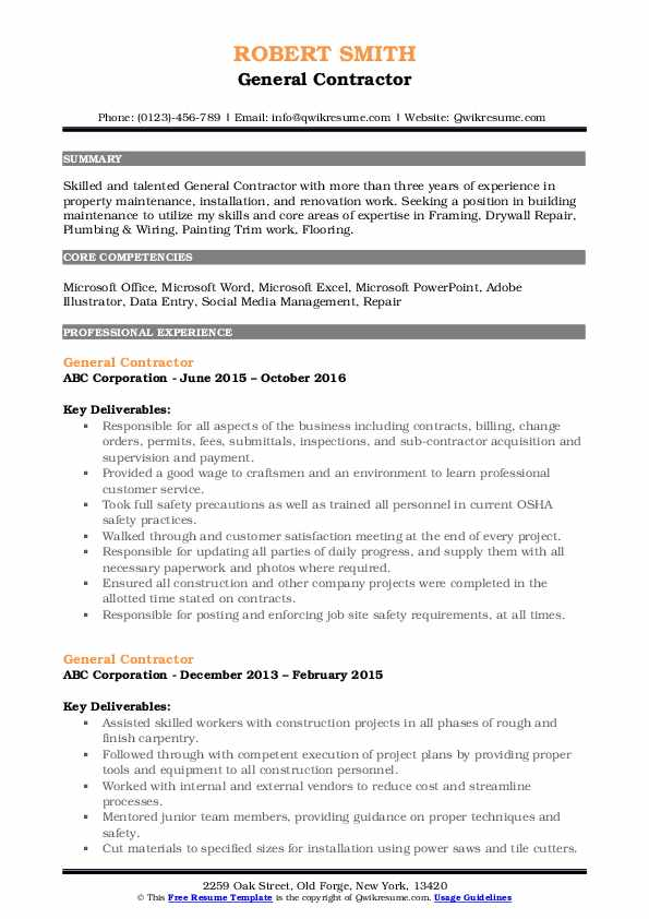 general contractor resume samples qwikresume objective examples pdf description of self Resume General Contractor Resume Objective Examples