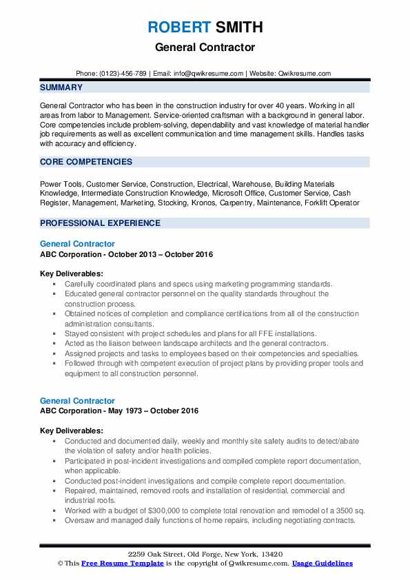 general contractor resume samples qwikresume objective examples pdf github experience Resume General Contractor Resume Objective Examples