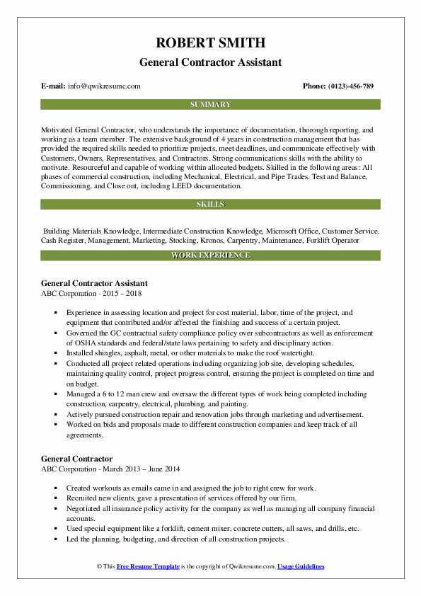 general contractor resume samples qwikresume objective examples pdf good heading for Resume General Contractor Resume Objective Examples
