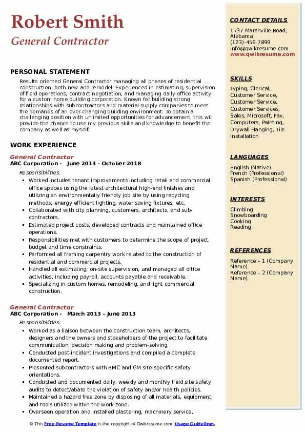 general contractor resume samples qwikresume objective examples pdf teacher middle school Resume General Contractor Resume Objective Examples