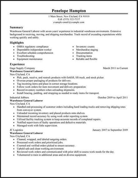 general labor warehouse resume http topresume info examples objective summary example Resume General Labor Resume Summary Example