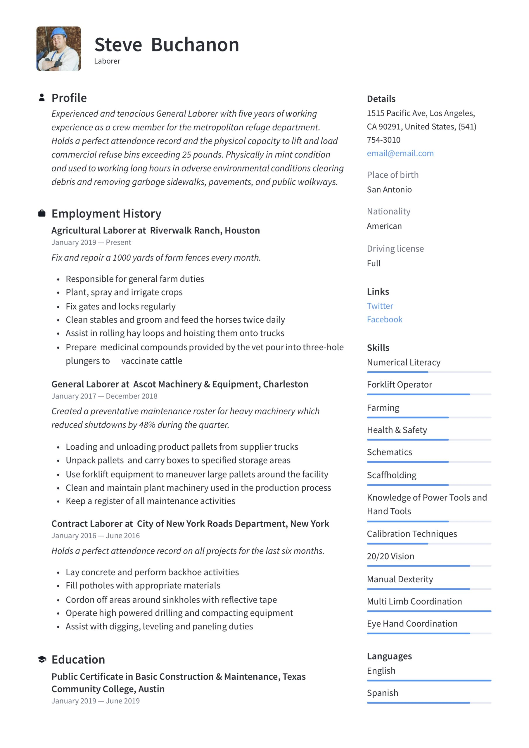 general laborer resume writing guide free templates labor summary example and delivery Resume General Labor Resume Summary Example