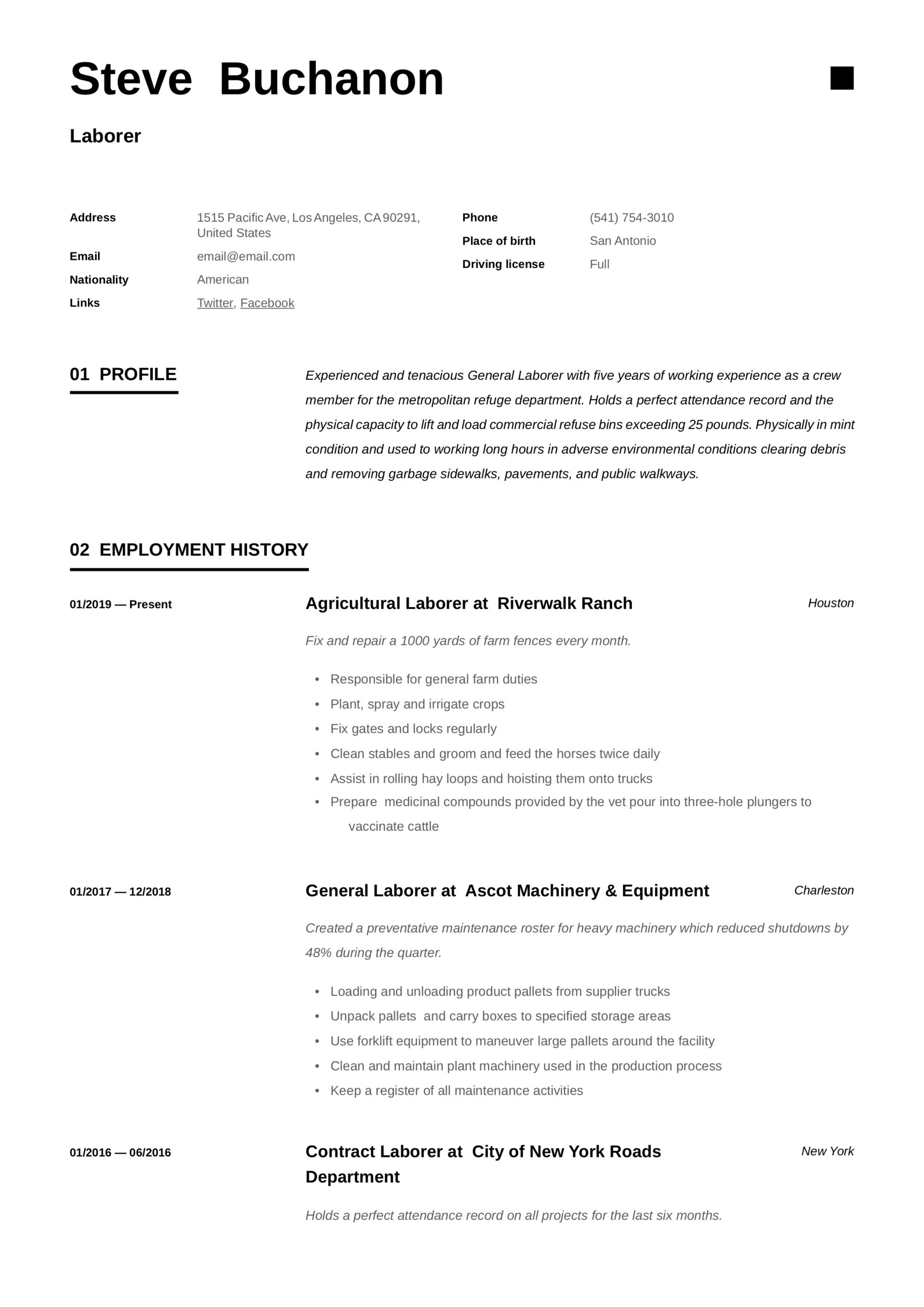 general laborer resume writing guide free templates labor summary example for Resume General Labor Resume Summary Example